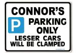 CONNOR'S Personalised Gift |Unique Present for Him | Parking Sign - Size Large - Metal faced
